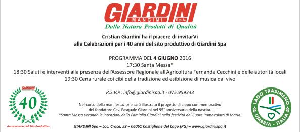 Invito 40 anni Giardini Spa a Pozzuolo